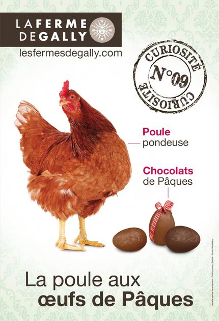 Agence Place des Victoires Communication - Publiciité Ferme de Gally - affiche poule de pâques
