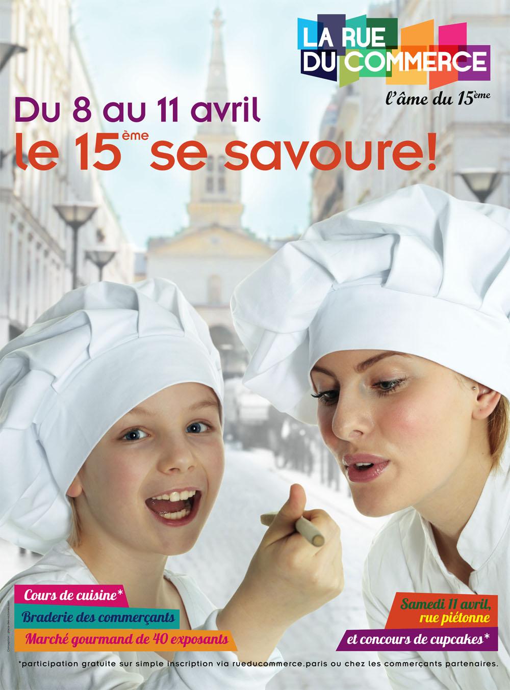 Place des Victoires Communication - Rue du Commerce - Publicité affiche marché gourmand